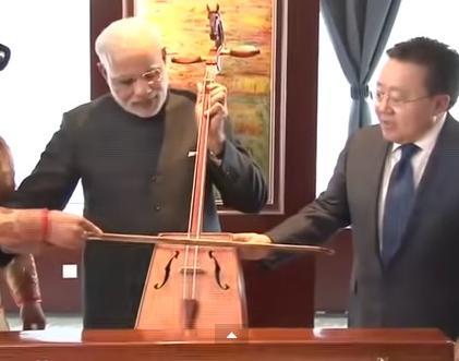 Narendra Modi's Mongolian Avatar playing Morin Khurr in Mongolia